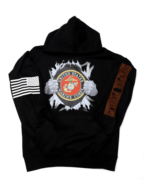 Marines Superman Black Hooded Sweatshirt