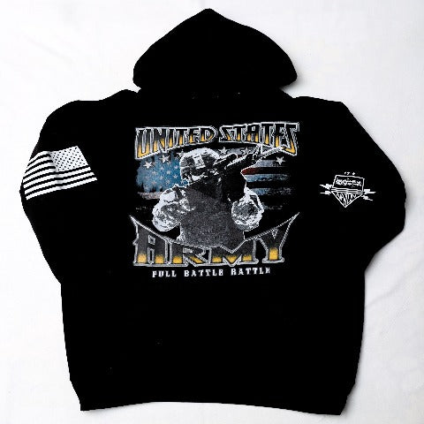 Army Full Battle Black Hooded Sweatshirt