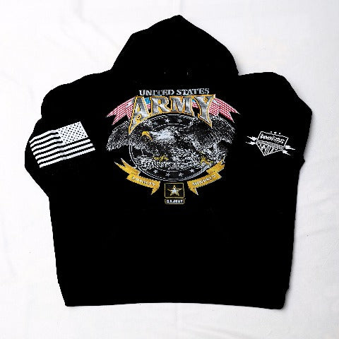 USA Army Loyalty and Respect Black Hooded Sweatshirt