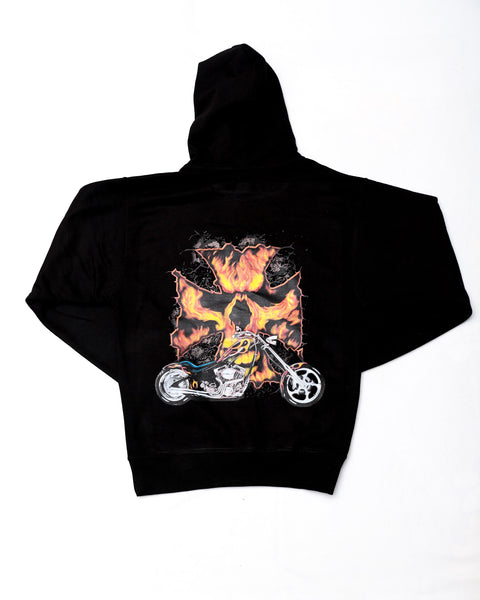 Flaming Iron Cross Biker Black Hooded Sweatshirt