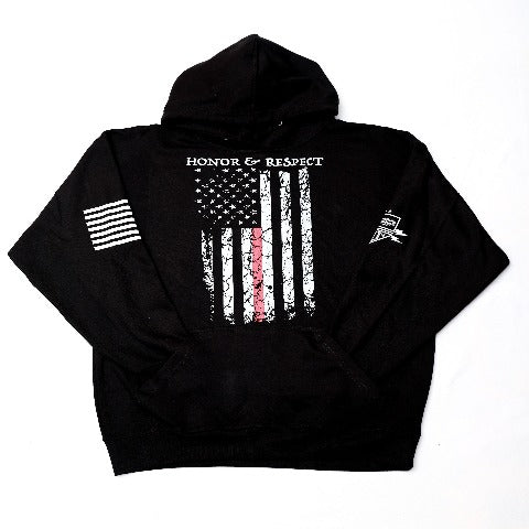 Fire Dept Red Line Flag Black Hooded Sweatshirt