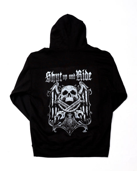 Skull Biker Black Hooded Sweatshirt