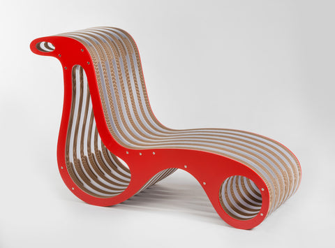 Chaise Longue In Cartone X2Chair Laccato Rosso Lessmore Design