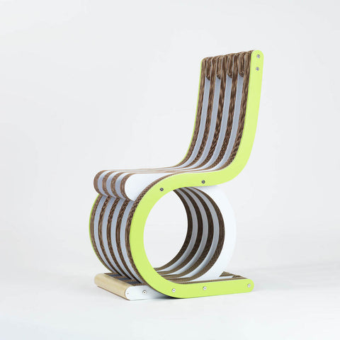 Sedia In Cartone Twist Chair Laccato Verde Lime Lessmore