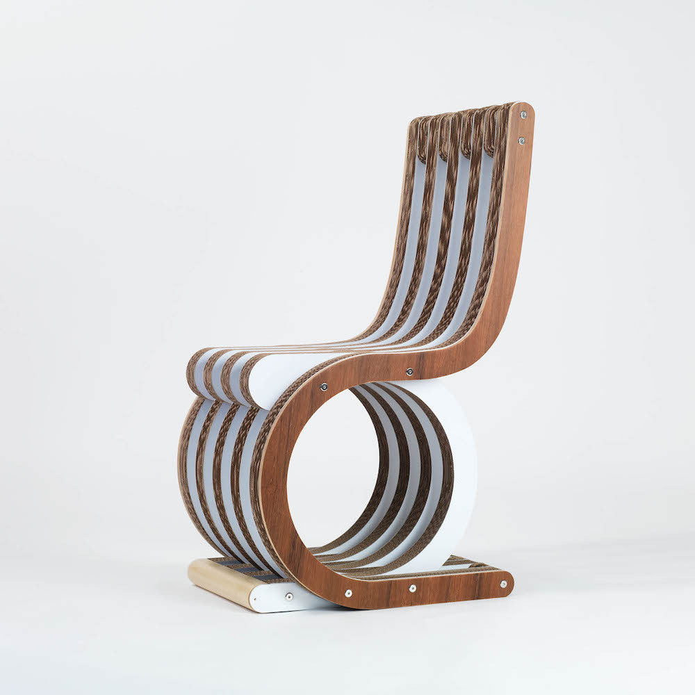 Sedia di cartone twist chair noce lessmore design caporaso for Sedia design faccia