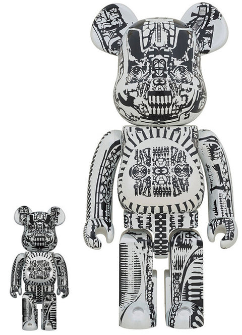 BE@RBRICK H.R Giger White Chrome 400% + 100% Set