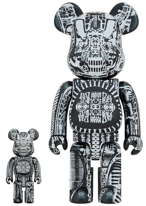 BE@RBRICK H.R Giger Black Chrome 400% + 100% Set