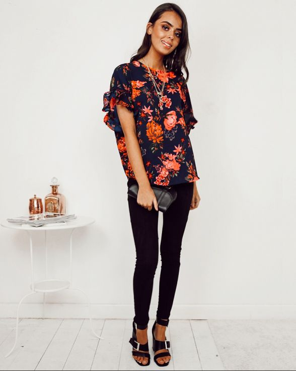 Saffron Navy Floral Frill Sleeved Top