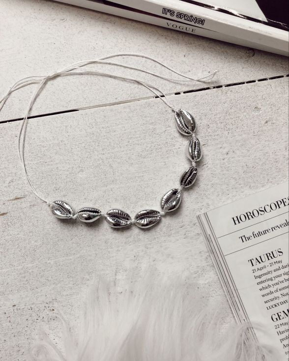 Waves Shell Choker Necklace In Silver