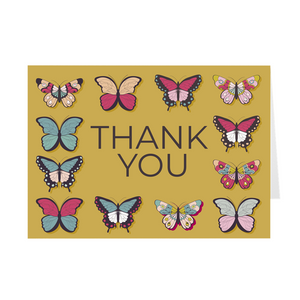 Gold - Butterflies Thank You Card
