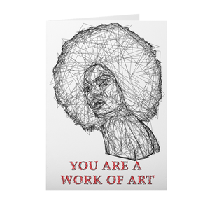 African American - Afro Girl Sketch - Valentine's Day Card