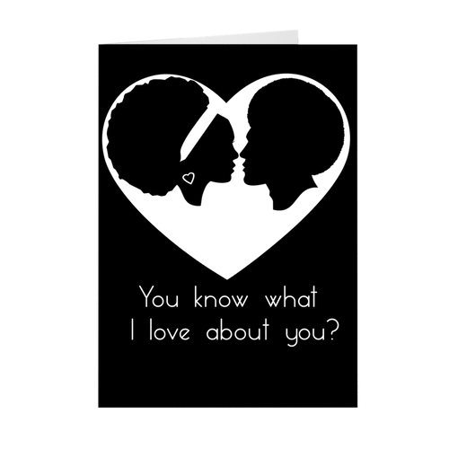 African-American Afro Couple Love - Valentine's Day Stationery Card