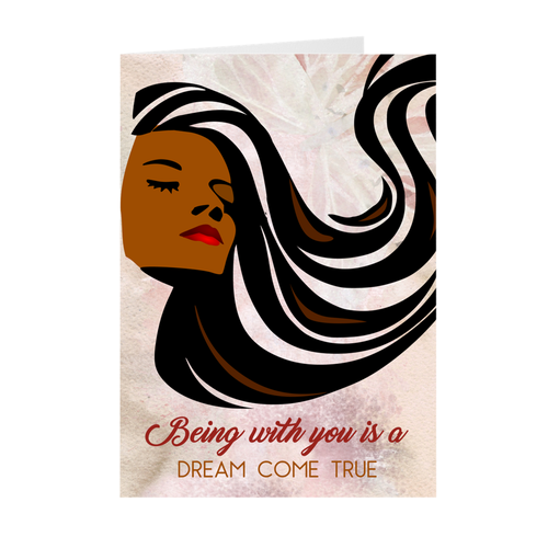 Being With You Dream Come True - African American Girl - Valentine's Day Card