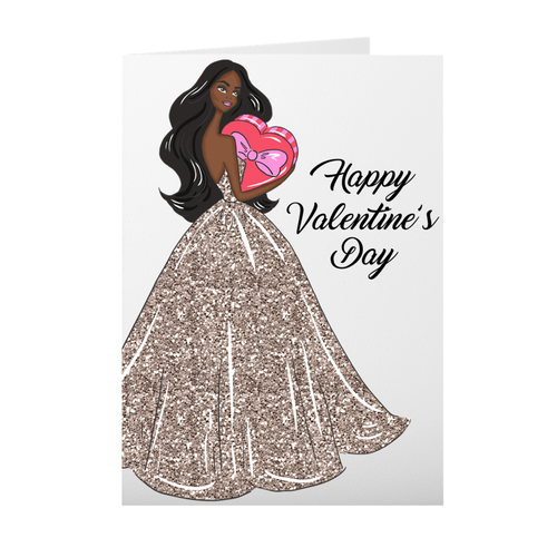 Glamorous African American Valentine's Day Girl