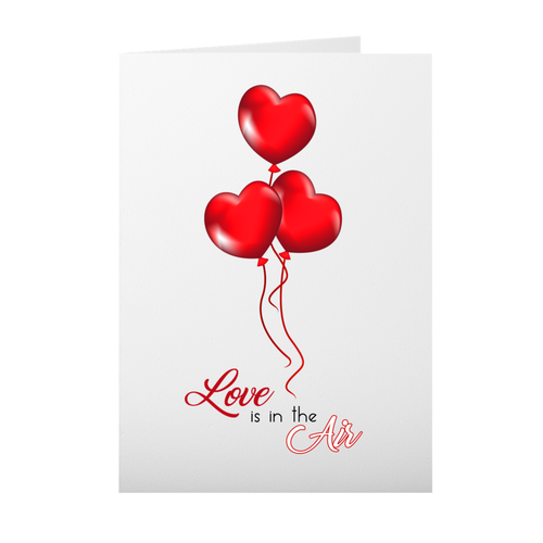 Love Is In The Air - Floating Red Balloon Hearts - Valentine's Day Card