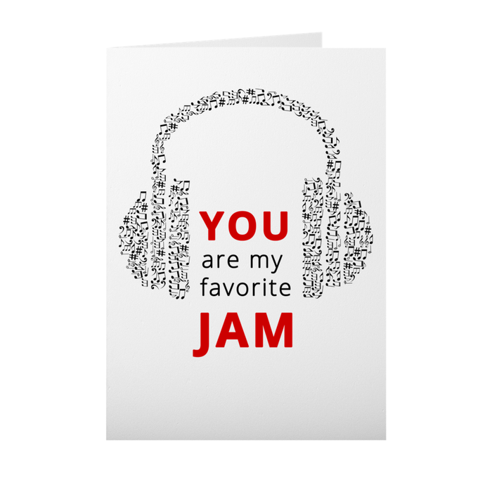 My Favorite Jam - Headphones - Valentine's Day Greeting Card