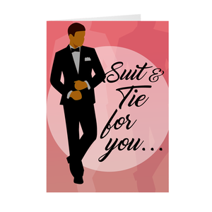 African American Male - Suit And Tie - Valentine's Day Card