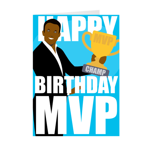 African American Male - MVP - Happy Birthday Card