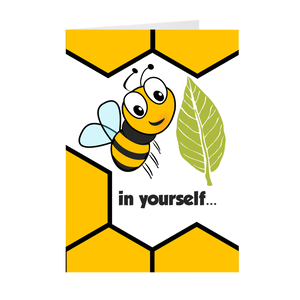 Bee and Leaf - Believe in Yourself - Inspirational Greeting Card