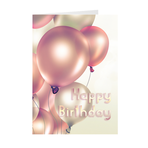 Floating Pink & White Balloons - Happy Birthday Greeting Card