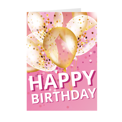 Pink Balloon Confetti - Happy Birthday Greeting Card