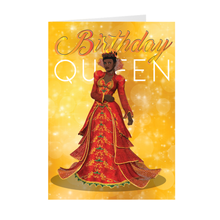 Load image into Gallery viewer, Birthday Queen - Red & Gold - African American Woman Greeting Card