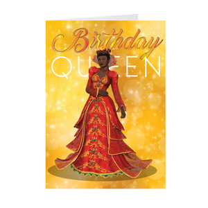 Birthday Queen - Red & Gold - African American Woman Greeting Card