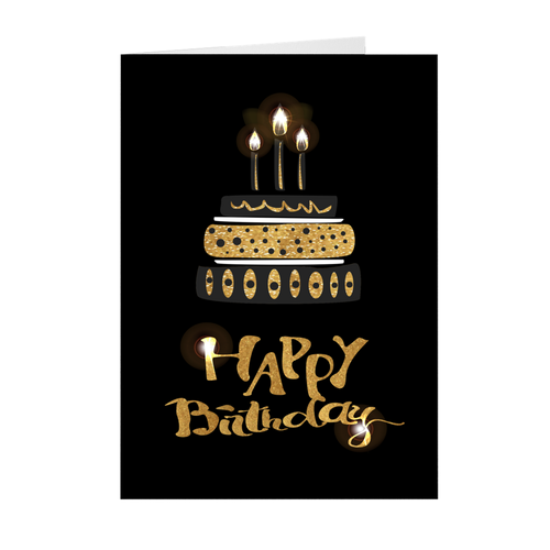 Black & Gold Birthday Cake - Candles Lit - Birthday Greeting Card
