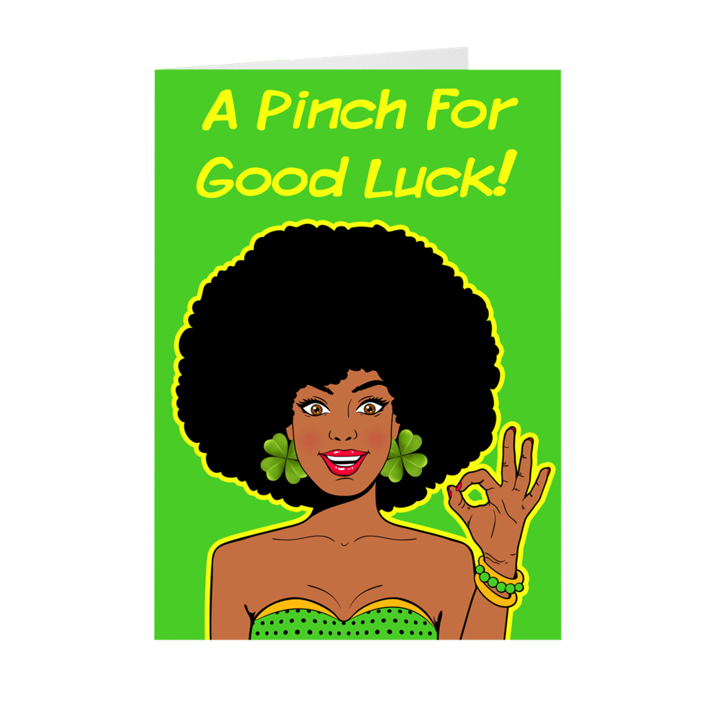 St. Patrick's Day - African-American Afro Woman - Greeting Card