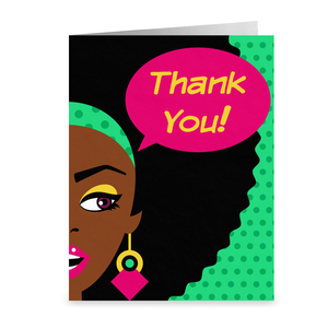 Afro Pop Art - African American Girl - Thank You Greeting Card