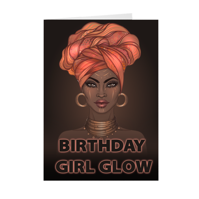 Birthday Girl Glow Turban - African-American Woman - Greeting Card