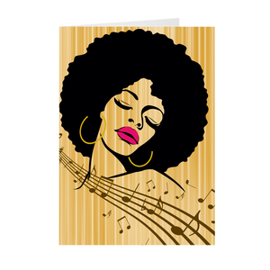African-American Afro Woman - Musical - Greeting Card