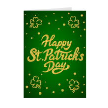 Load image into Gallery viewer, Four Leaf Clover - Green & Gold - Happy St. Patrick's Day Greeting Card