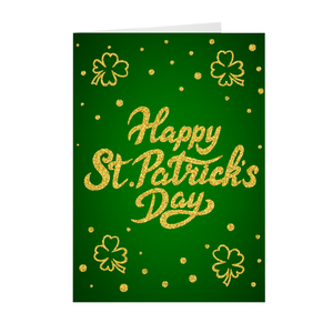 Four Leaf Clover - Green & Gold - Happy St. Patrick's Day Greeting Card