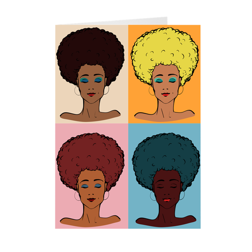 Pop Art - African-American Afro Women - Greeting Card