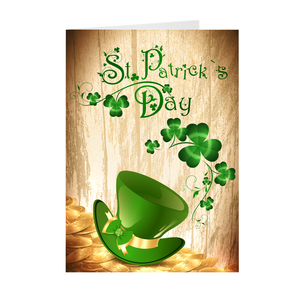 St Patrick's Day - Gold Coins & Hat - Holiday Greeting Card