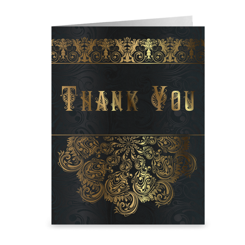 Black & Gold Vintage Lace - Thank You Greeting Card