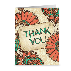 Living Coral & Turquoise - Floral Thank You Greeting Card