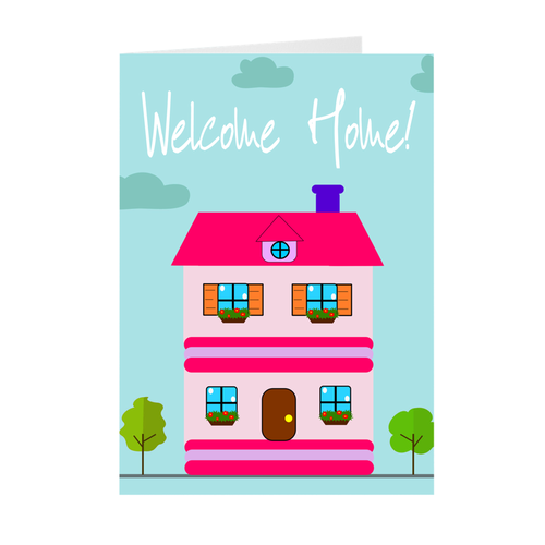 Pink House - Welcome Home Housewarming Greeting Card
