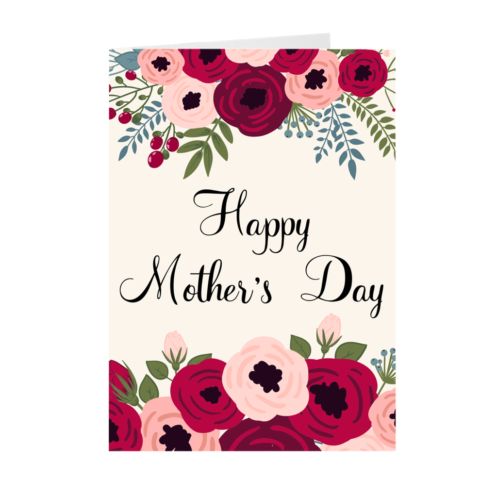 Floral Top & Bottom - Happy Mother's Day Greeting Card