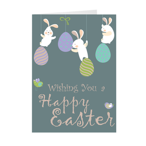 Bunnies and Eggs - Happy Easter Greeting Card