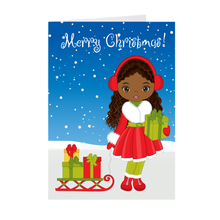 Load image into Gallery viewer, African American Girl w/ Gifts & Sleigh - Merry Christmas Greeting Cards