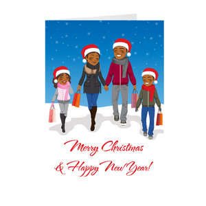 African American Family Smiling - Merry Christmas & Happy New Year Greeting Card