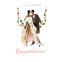 Load image into Gallery viewer, African American Wedding Couple - Husband & Wife - Flower Swing - Congratulations Card