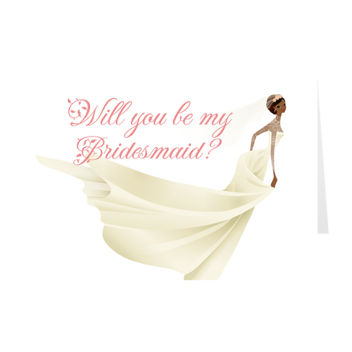 African American Bride - Will You Be My Bridesmaid - Wedding Greeting Card