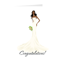 Load image into Gallery viewer, African American Bride - Wedding - Congratulations Greeting Card