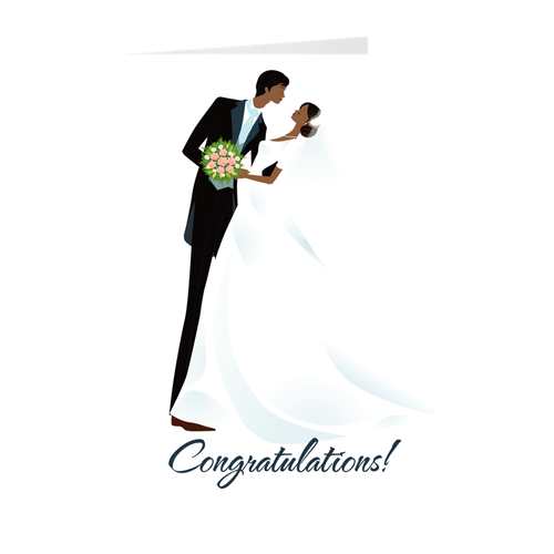 African American Husband & Wife - Wedding Congratulations Greeting Card