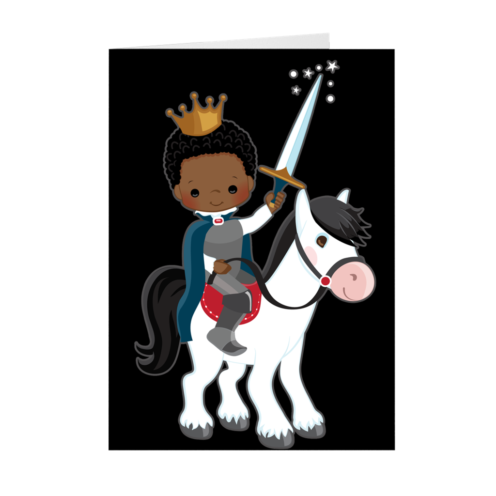 African American Boy - Birthday Prince on Horse - Greeting Card