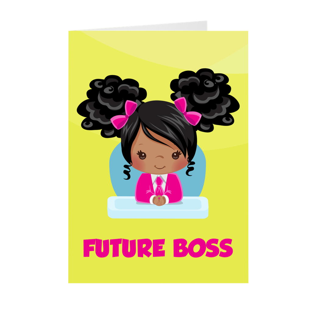African American Girl - Future Boss - Blank Greeting Card