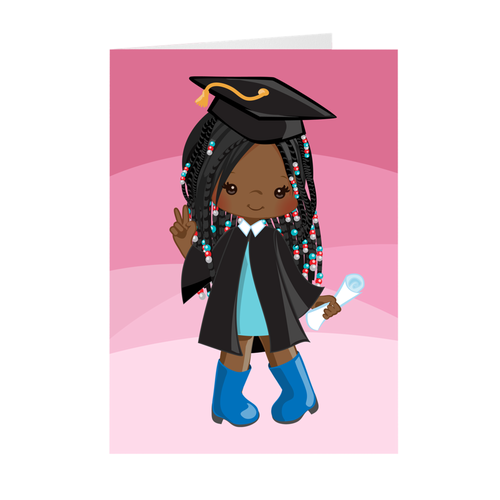African American Girl with Braids & Beads - Graduation Greeting Card